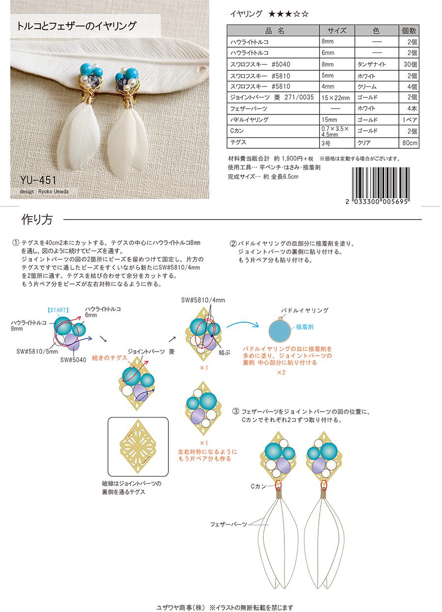 YU-451トルコとフェザーのイヤリング-2.jpg